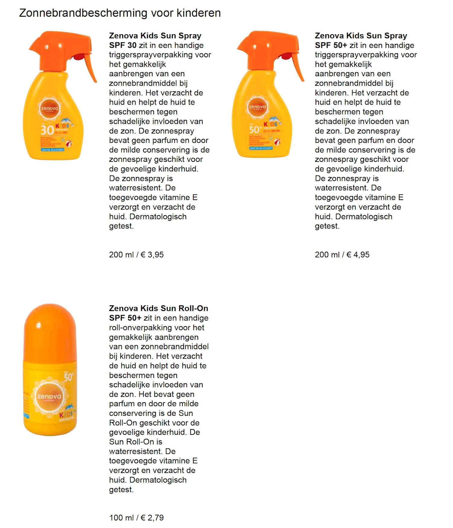 Action zonnebrand baby kind goedkoop eigen merk