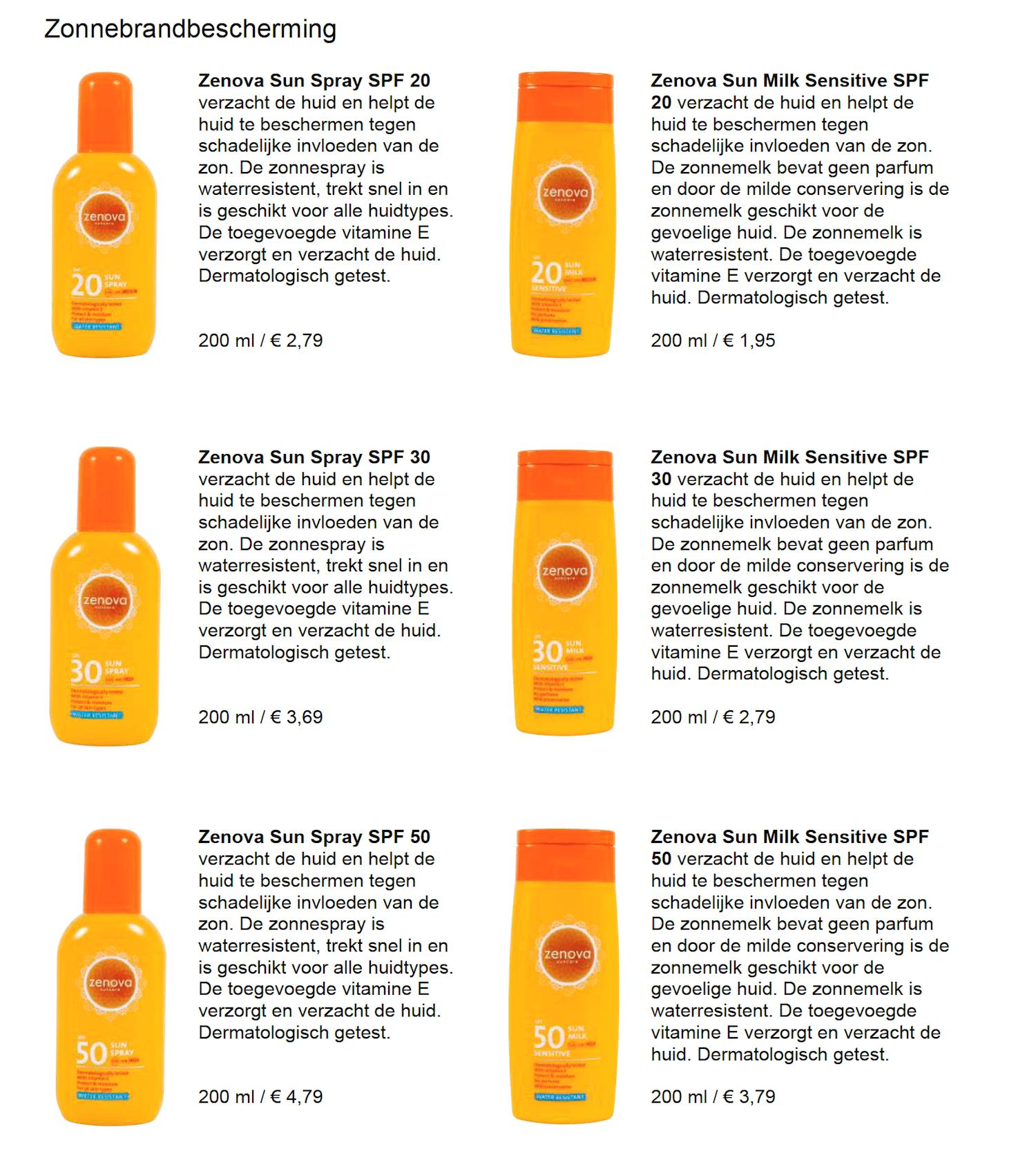 Zonnebrand producten eigen lijn Action